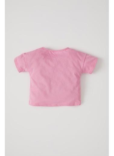 DeFacto Kız Bebek Slogan Baskılı Kısa Kol Pamuklu Tişört Pembe